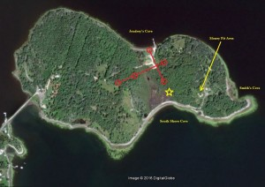 The red circles indicate the approximate position of the boulders that make up Nolan's Cross on Oak Island. If aligned to the constellation Cygnus and the Northern Cross the yellow star indicates the position of the new 2022 star in relation to the Northern Cross and where it aligns on Oak Island. (Original image taken from Google Earth, Feb 2017.)