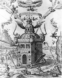The Invisible College of the Rose Cross Fraternity, 1618, by Theophilius Schweighardt. Note the two stars in the upper left and right corners. The star on the left has its light shining through the Serpent Bearer (Serpentario) and the star on the right is shining through the Swan (Cygnus).