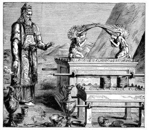 A Biblical High Priest, wearing the traditional breastplate with the Ark of the Covenant (Source unknown). Masonic Royal Arch High Priests wear a similar reproduction breastplate.